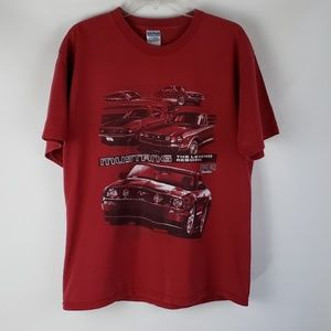 Mustang Muscle Car T Shirt Red Large